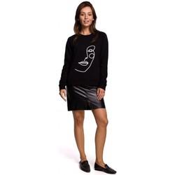 Textil Ženy Mikiny Be B167 Svetr s potiskem vpředu - černý
