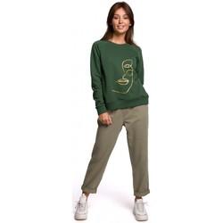 Textil Ženy Mikiny Be B167 Svetr s potiskem vpředu - zelený trávník