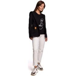 Textil Ženy Saka / Blejzry Be B180 Blejzr s kapucí z bavlněného úpletu - černý