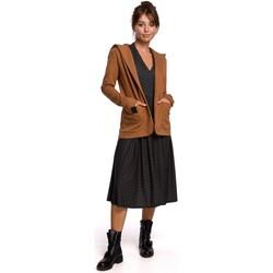 Textil Ženy Saka / Blejzry Be B180 Blejzr s kapucí z bavlněného úpletu - karamelový