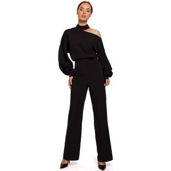 Textil Ženy Overaly / Kalhoty s laclem Moe M528 Kombinéza s biskupskými rukávy - černá