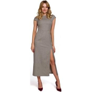 Textil Ženy Společenské šaty Makover K071 Ginghamové midi šaty - hnědé