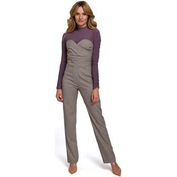 Textil Ženy Overaly / Kalhoty s laclem Makover K073 Ginghamový overal s horním dílem bez ramínek - hnědý
