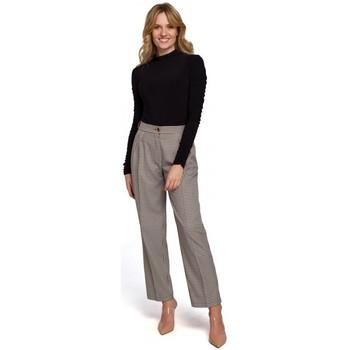 Textil Ženy Mrkváče Makover K076 Kalhoty s ginghamovým potiskem - hnědé