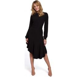 Textil Ženy Společenské šaty Makover K077 Šaty s flamencovým volánem - černé