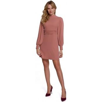 Textil Ženy Krátké šaty Makover K077 Šaty s flamencovým volánem - růžové