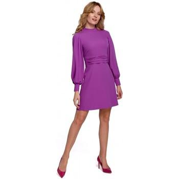Textil Ženy Krátké šaty Makover K077 Šaty s flamencovým volánem - levandulová