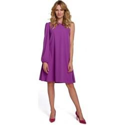Textil Ženy Krátké šaty Makover K081 Šaty na jedno rameno - černé