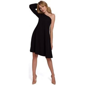 Textil Ženy Krátké šaty Makover K082 Mini šaty s širokým páskem na zavazování - béžové