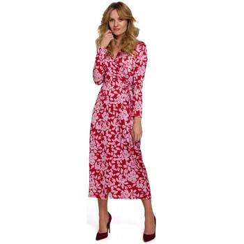 Textil Ženy Společenské šaty Makover K083 Zavinovací šaty s květinovým potiskem - model 2