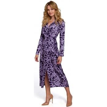 Textil Ženy Společenské šaty Makover K083 Zavinovací šaty s květinovým potiskem - model 3