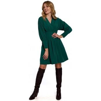 Textil Ženy Krátké šaty Makover K087 Šaty s kimonovými rukávy - zelené