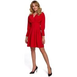 Textil Ženy Krátké šaty Makover K087 Šaty s kimonovými rukávy - červené