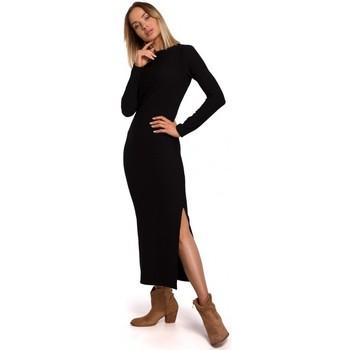 Textil Ženy Společenské šaty Moe M544 Maxi šaty s rozparkem na nohou - černé