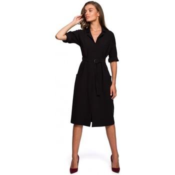 Textil Ženy Společenské šaty Style S230 Midi košilové šaty s kapsami - černé