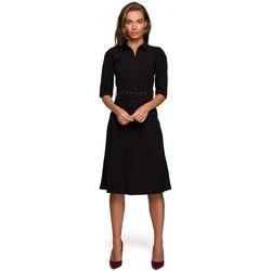 Textil Ženy Krátké šaty Style S231 Límeček s páskem s přezkou - černý