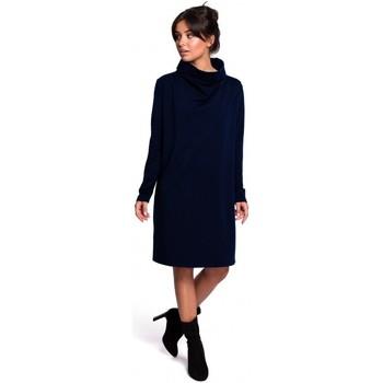 Textil Ženy Krátké šaty Be B132 Šaty s vysokým límcem - granátové