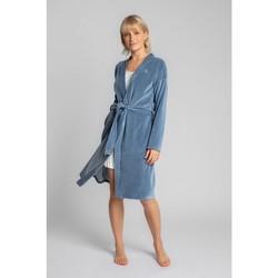 Textil Ženy Pyžamo / Noční košile Lalupa LA009 Sametový župan s páskem na zavazování - modrý