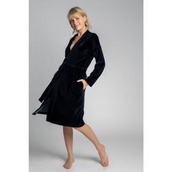 Textil Ženy Pyžamo / Noční košile Lalupa LA009 Sametový župan s páskem na zavazování - tmavě modrý