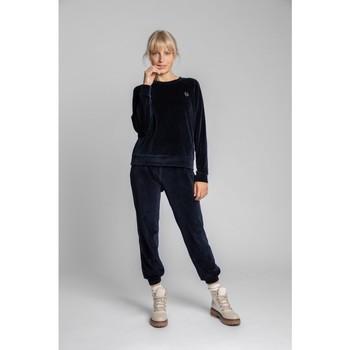 Textil Ženy Halenky / Blůzy Lalupa LA011 Sametový svetr s rukávy Reglan - tmavě modrý