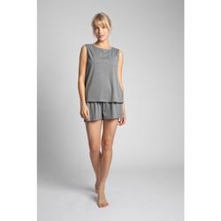 Textil Ženy Halenky / Blůzy Lalupa LA015 Bavlněný top bez rukávů - šedý