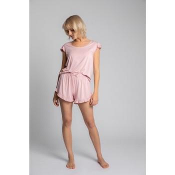 Textil Ženy Halenky / Blůzy Lalupa LA023 Viskózový top s volánkem bez rukávů - růžový