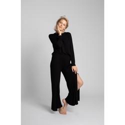 Textil Ženy Turecké kalhoty / Harémky Lalupa LA026 Viskózové kalhoty s vysokými rozparky - černé
