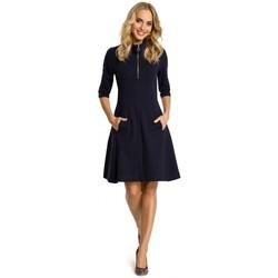 Textil Ženy Krátké šaty Moe M349 Šaty s límečkem na zip - tmavě modré