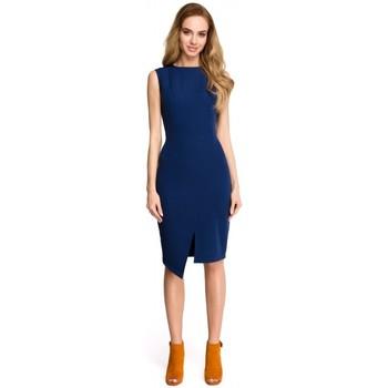 Textil Ženy Krátké šaty Style S105 Šaty bez rukávů s umělým obalem - tmavě modré
