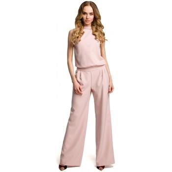 Textil Ženy Overaly / Kalhoty s laclem Moe M382 Kombinéza s dělenými zády - pudrová