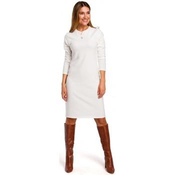 Textil Ženy Krátké šaty Style S178 Svetrové šaty s dlouhým rukávem - ecru barva