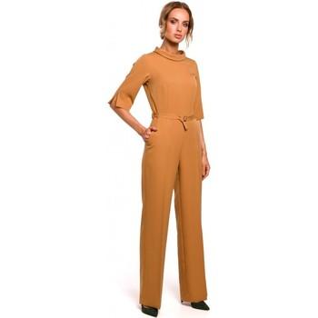 Textil Ženy Overaly / Kalhoty s laclem Moe M463 Kombinéza se stojáčkem - skořicová