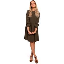 Textil Ženy Krátké šaty Moe M465 Šaty Shift s raglánovými rukávy - khaki barva
