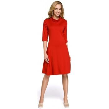 Textil Ženy Krátké šaty Moe M279 Šaty s želvovinovým výstřihem - červené