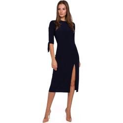 Textil Ženy Krátké šaty Makover K007 Úpletové šaty s vázanými rukávy - tmavě modré
