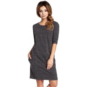Textil Ženy Šaty Be B033 Šaty Box shift - grafitové