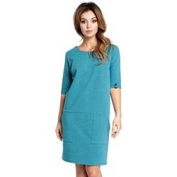 Textil Ženy Krátké šaty Be B033 Šaty Box shift - smaragdové