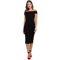 Textil Ženy Krátké šaty Makover K001 Pletené šaty na ramena - černé