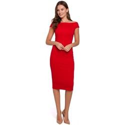 Textil Ženy Krátké šaty Makover K001 Pletené šaty na ramena - červené
