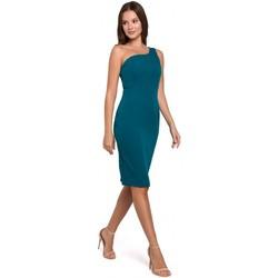 Textil Ženy Krátké šaty Makover K003 Plášťové šaty s výstřihem na jedno rameno - oceánsky modré