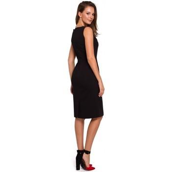 Textil Ženy Šaty Makover K004 Tužkové šaty s výstřihem do V - holubičí šedá