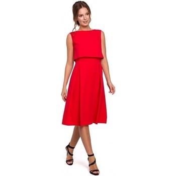 Textil Ženy Šaty Makover K005 Přiléhavé šaty s odhalenými zády - černé