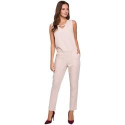 Textil Ženy Overaly / Kalhoty s laclem Makover K009 Jednodílný overal s výstřihem do V - béžový