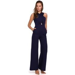 Textil Ženy Overaly / Kalhoty s laclem Makover K029 Cross front jumpsuit - deep blue