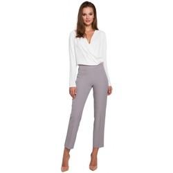 Textil Ženy Mrkváče Makover K035 Kalhoty s elastickým pasem - šedé