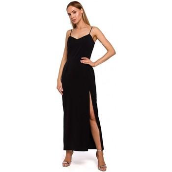 Moe Společenské šaty M485 Maxi večerní šaty s vysokým rozparkem - černé - ruznobarevne