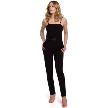 Textil Ženy Overaly / Kalhoty s laclem Makover K051 Kombinéza se špagetovými ramínky - černá