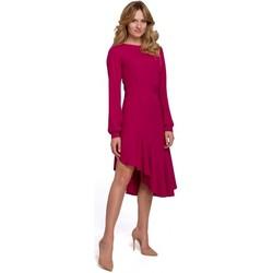 Textil Ženy Společenské šaty Makover K077 Šaty s flamencovým volánem - švestka