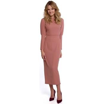 Textil Ženy Společenské šaty Makover K079 Šaty v midi délce s rozdělenými zády - růžové