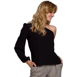 Textil Ženy Halenky / Blůzy Makover K080 Top na jedno rameno - černý